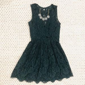Anthropology Dark Green Lace Party Dress.